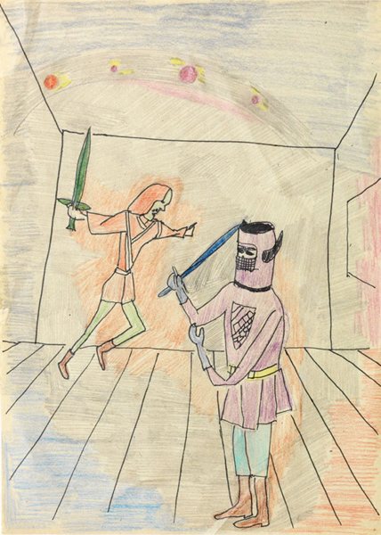 "<p style=""text-align: center;""><span style=""font-size: 8pt;"">Andy Hope 1930, o.T. , ca. Mitte 70er, Pencil and crayon on paper, 29,4 x 21,2 cm</span></p>"