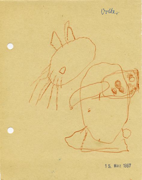 "<p style=""text-align: center;""><span style=""font-size: 8pt;"">Via Lewandowsky, o. T., 1967 (4 years), Crayon on paper, 17,5 cm x 13,5 cm</span></p>"