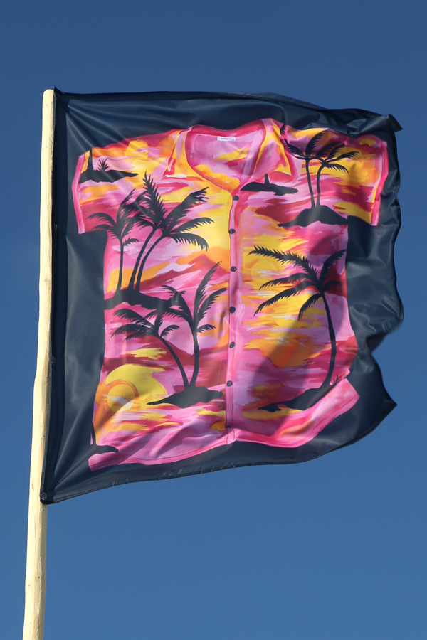 "<p style=""text-align: center;""><span style=""font-size: 8pt;"">Anna Ley, Hawaiihemd, 2018, CMYK print on flag fabric, Edition 1/4, Kunstverein Amrum, 2018. Photo: Sandra Hermannsen"